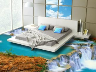 Kunstvoller 3D-Fußboden im Schlafzimmer (Motiv: Wasserfall)